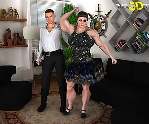 Muscle woman loves to suck..